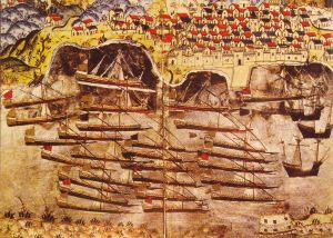 This is actually Barbarossa's Ottoman fleet off Toulon in 1543, almost 100 years after the siege--but the ocean going galleys were probably the kind used at Belgrade, brought up river from the Black Sea.