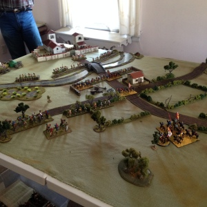 initial dispositions.  Giovanni and the Black Bands are in the hedgerows with a cavalry reserve.