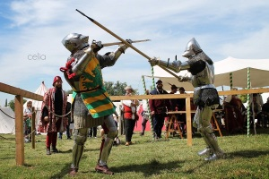 That's me, on the right, fighting with a spear in Italy.