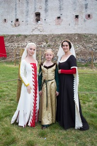 My daughter, in her silk and fur, between Giulia Grigoli of Verona. Italy and xxxxxx who made Giulia's dress and her own.