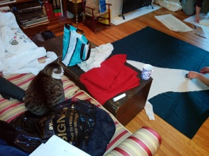 Laying out a medieval sleeve.  Cat optional.  In fact, completely UNNECESSARY