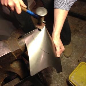 Jeffrey has already welded the cone.  Aurora has already ground down the weld.