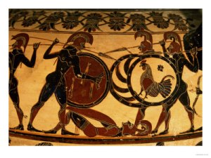 81947~Detail-of-a-Corinthian-Vase-Showing-a-Hoplite-Battle-circa-600-BC-Posters